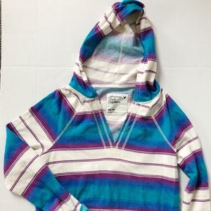 American Eagle Striped Pullover Hoodie Sz XS